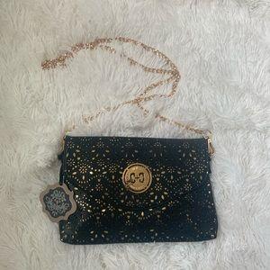NWT! Black & gold cross body envelope clutch